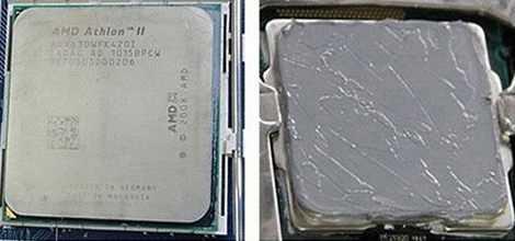 Процессор до и после нанесения термопасты